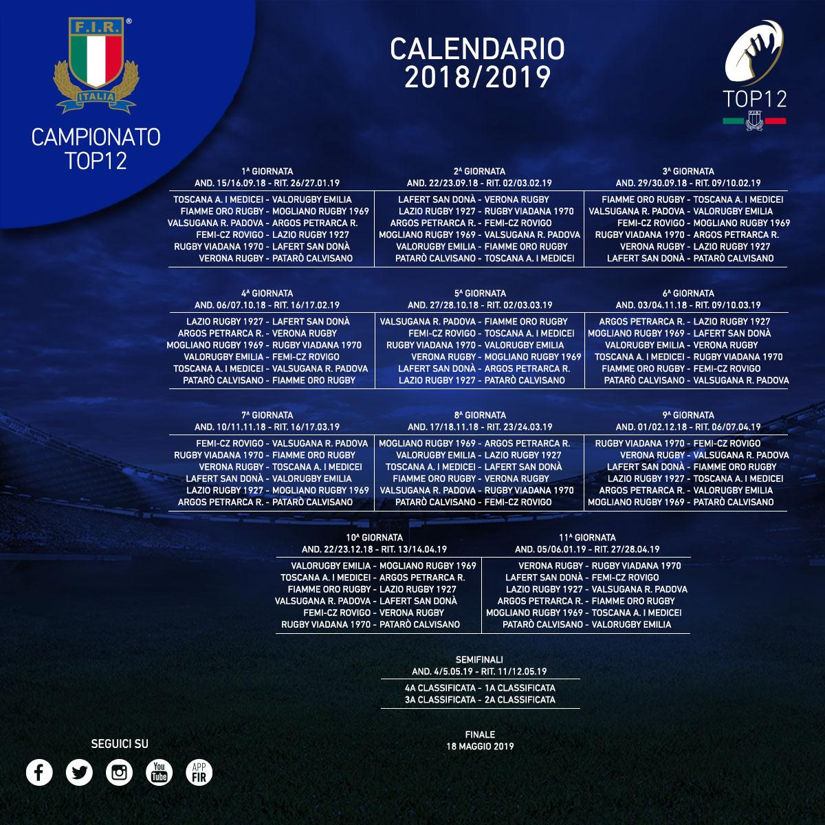 Calendario Eccellenza Toscana.Pubblicato Il Calendario Del Top 12 2018 2019 Mogliano